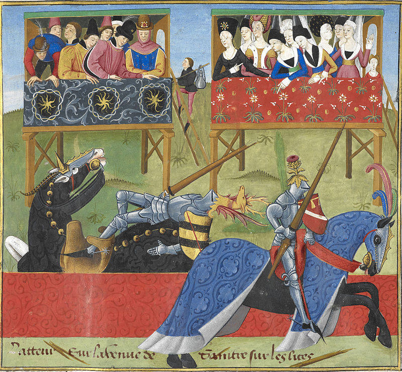 Jean_de_Saintré_jousts_with_Enguerrant_-_The_Romance_of_Jean_de_Saintré_c.1470_f.40_-_BL_Cotton_MS_Nero_D_IX